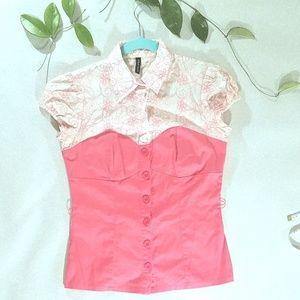 Heart Soul button up bodice blouse salmon pink C7